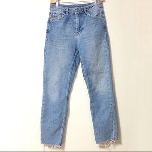 TOPSHOP MOTO Bleach Raw Hem Straight Leg Jeans